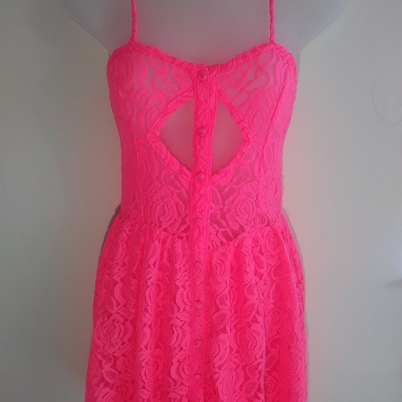 fb175352dd3 LF Millau Pink dress lace plunge sheer festival